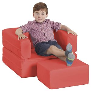 ECR4Kids Softzone Flip-Flop Convertible Children's Chair, Red
