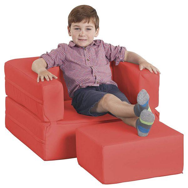 ECR4Kids Softzone Flip-Flop Convertible Children's Chair, Red